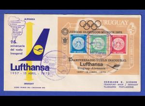Uruguay 1972 Blockausgabe 15 Jahre Lufthansa-Flüge Mi.-Nr. Block 15 FDC