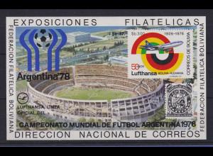Bolivien 1976 Blockausgabe 50 Jahre Lufthansa / Fussball-WM Mi.-Nr. Block 79 **