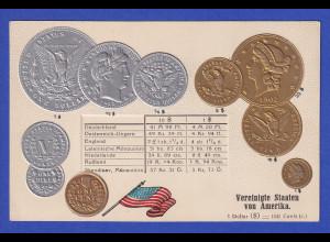Historische Postkarte Münzen USA, edler Prägedruck, silber und golden !