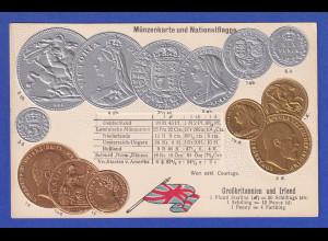 Historische Postkarte Münzen Britannien, edler Prägedruck, silber und golden !