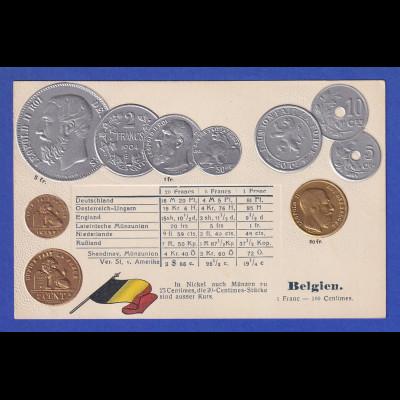 Historische Postkarte Münzen Belgien, edler Prägedruck, silber und golden !