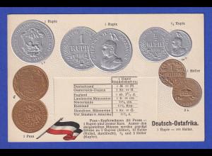 Historische Postkarte Münzen D-Ostafrika, edler Prägedruck, silber und golden !