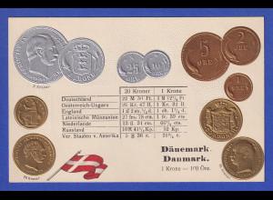 Historische Postkarte Münzen Dänemark, edler Prägedruck, silber und golden !