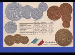 Historische Postkarte Münzen Frankreich, edler Prägedruck, silber und golden !