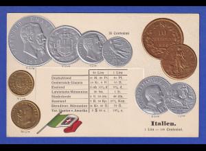 Historische Postkarte Münzen Italien, edler Prägedruck, silber und golden !