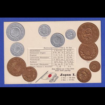 Historische Postkarte Münzen Japan I, edler Prägedruck, silber und golden !