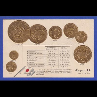 Historische Postkarte Münzen Japan II, edler Prägedruck, silber und golden !