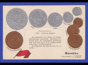 Historische Postkarte Münzen Marokko, edler Prägedruck, silber und golden !