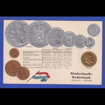 Historische Postkarte Münzen Niederlande, edler Prägedruck, silber und golden !