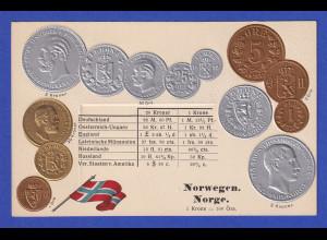 Historische Postkarte Münzen Norwegen, edler Prägedruck, silber und golden !