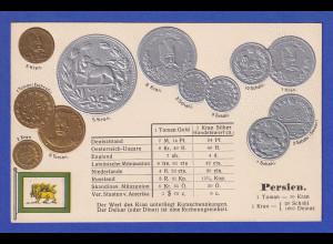 Historische Postkarte Münzen Persien, edler Prägedruck, silber und golden !