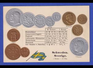 Historische Postkarte Münzen Schweden, edler Prägedruck, silber und golden !