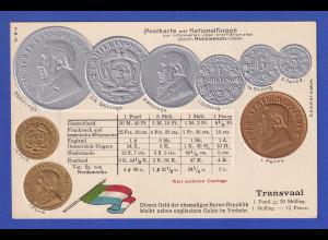 Historische Postkarte Münzen Transvaal, edler Prägedruck, silber und golden !