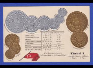 Historische Postkarte Münzen Türkei, edler Prägedruck, silber und golden !
