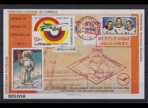 Bolivien 1976 Blockausgabe 50 Jahre Lufthansa / Apollo 11 Mi.-Nr. Block 105 **