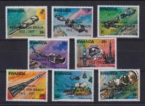 Ruanda Raumfahrt, zum Tod von Wernher von Braun 1912-1977 Satz 8 Werte **