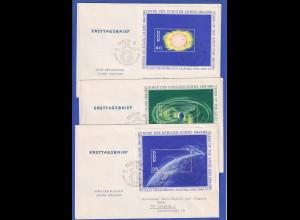 DDR 1964-65 Jahre der ruhigen Sonne Mi.-Nr. Block 20-22 auf 3 FDC