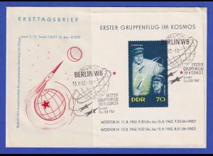DDR 1962 Erster Gruppenflug im Kosmos Mi.-Nr. Block 17 auf FDC