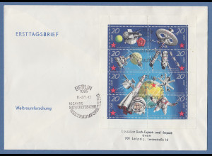 DDR 1971 Kleinbogen 10 Jahre sowjetische Weltraumforschung Mi.-Nr. 1636-43 FDC