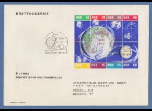 DDR 1962 Kleinbogen 5 Jahre sowjetische Weltraumflüge Mi.-Nr. 926-33 FDC