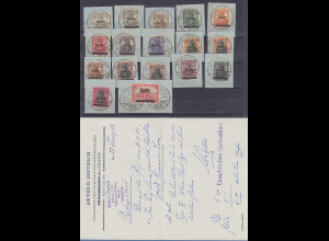 Saar Mi.-Nr. 1-17 Satz einheitlich gestempelt auf Briefstücken mit O Saarbrücken