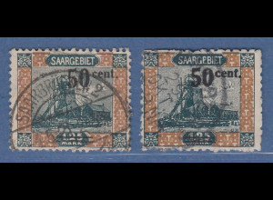 Saar 50 C. beide Varianten Mi.-Nr. 78A und 78B gestempelt, geprüft HOFFMANN
