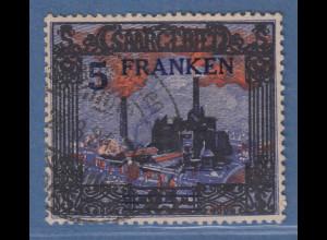 """Saar 5 Franken Burbacher Hütte mit seltenem PLF """"weisser Rauch"""" Mi.-Nr. 83 I O"""