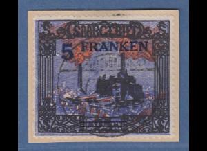 Saar 5 Fr. Burbacher Hütte Aufdruckfehler gebr. Bogen der 5, Mi.-Nr. 83 II gest.