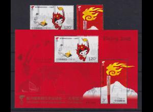 VR China 2008 Olympischer Fackellauf Mi.-Nr. 3949-50 und Block 145 **