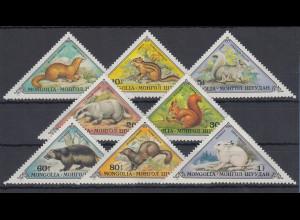 Mongolei 1973 Pelztiere Mi.-Nr. 797 - 804 **