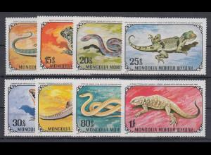 Mongolei 1972 Amphibien und Reptilien Mi.-Nr. 712 - 719 **