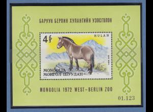 Mongolei 1972 Przewalskipferd Mi.-Nr. Block 28 **