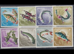 Mongolei 1965 Fische Mi.-Nr. 398 - 405 **