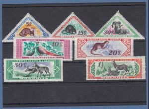 Mongolei 1959 Mongolische Wildtiere Mi.-Nr. 170 - 176 **