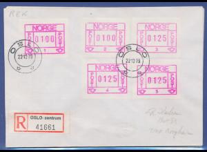 Norwegen Frama-ATM 1978, R-Brief mit 5 ATM aller Aut.-Nr. 1-5, O Oslo-Zentrum