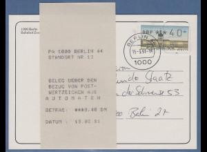 ATM Berlin Wert 40 auf Postkarte innerh. Berlins mit Tages-O BERLIN 44 15.3.91