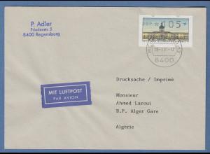 ATM Berlin Wert 105 auf Lp-Drucksache n. Algerien mit Tages-O REGENSBURG 28.3.91