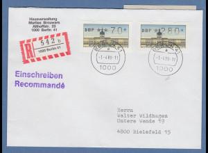 ATM Berlin Werte 70 und 280 auf R-Brief mit Tagers-O Berlin 41 1.4.89