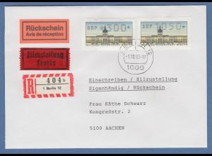 ATM Berlin Werte 300 / 1050 auf R-Rsch-Eilbrief nach Aachen, O BERLIN 12 1.10.90