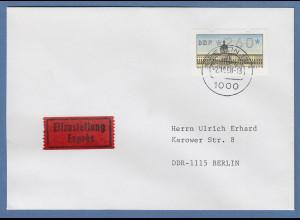 ATM Berlin Wert 260 auf Eilbrief nach Ost-Berlin (DDR). O BERLIN 12 2.10.90