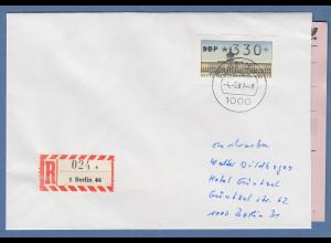 ATM Berlin Wert 330 auf R-Brief nach Bielefeld. ET-Tages-O BERLIN 44 4.5.87