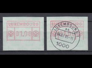 Luxemburg ATM 1. Ausgabe Teildruck unteres Drittel fehlt ** und O