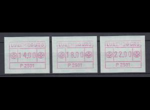 Luxemburg ATM P2501 rotlila Tastensatz 14-18-22 **