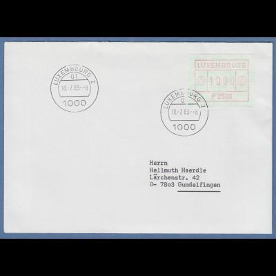 Luxemburg ATM P2501 Wert 10.00 auf FDC gel. nach D