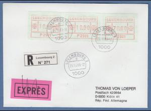 Luxemburg ATM P2501 Werte 10 - 10 - 70 auf R-Brief nach D, O 29.10.83