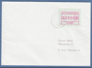 Luxemburg ATM P2501 Wert 12 auf Brief nach Kerpen, O 12.7.89