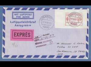 Luxemburg ATM P2501 Wert 49 auf Aerogramm in die USA, O 17.18.83 !!!