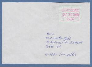 Luxemburg ATM P2501 Wert 12 auf Brief nach Brüssel, O 27.4.90