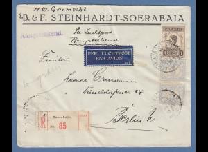 Indonesien / Niederl.-Indien: Lp-R-Brief gel. nach Berlin O SOERABAJA 6.10.31