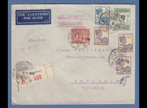 Indonesien / Niederl.-Indien: Lp-R-Brief gel. nach Berlin O SOERABAJA 23.11.31